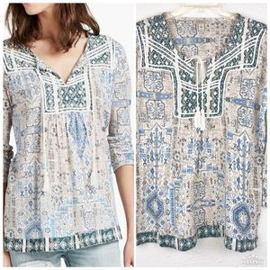 Lucky Brand Printed Peasant Top Size Large